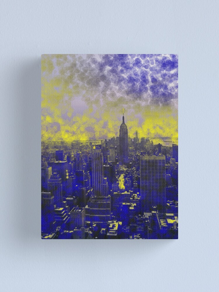 Alternate view of Colorful Blue and Yellow Dream New York Canvas Print