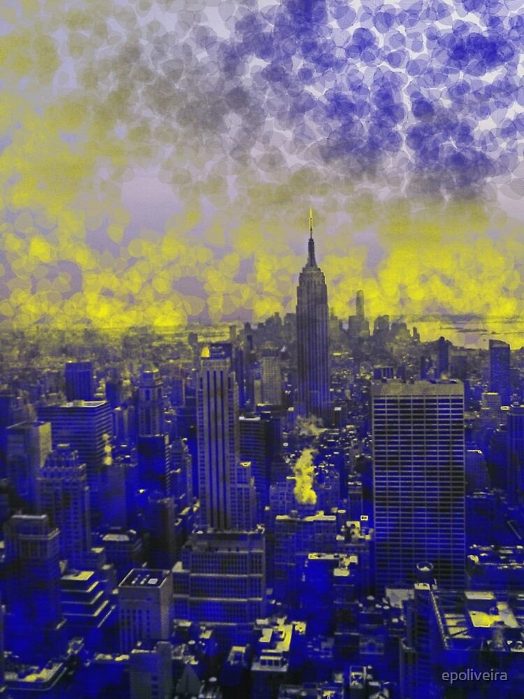 Colorful Blue and Yellow Dream New York by epoliveira