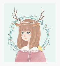 Cute forest deer girl Photographic Print