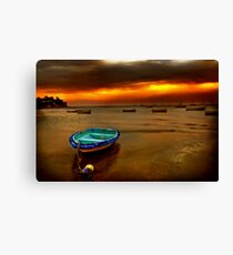 Blue boat, orange sky. Canvas Print