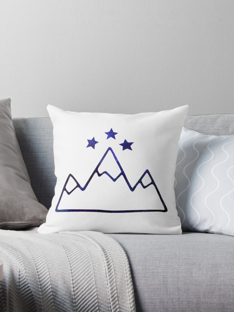 Night Court Symbol Mountains And Stars Throw Pillows By Angelina