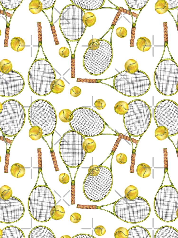 pattern with tennis rackets with tennis balls. color pencil by lisenok