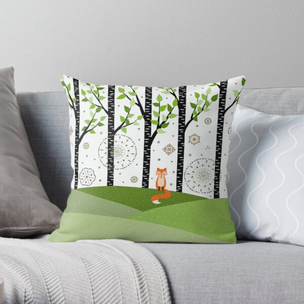 Fox - Birch Trees - Green Throw Pillow