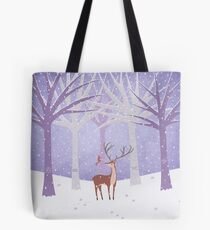 Deer - Squirrel - Winter - Snow - Forest Tote Bag