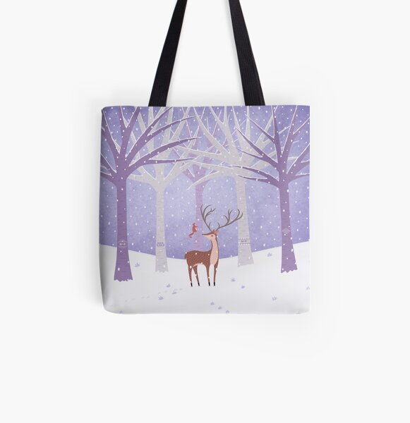 Deer - Squirrel - Winter - Snow - Forest All Over Print Tote Bag