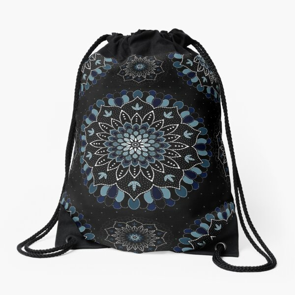 Black & Blue Mandalas Design Drawstring Bag