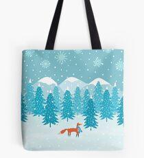 Fox - Winter - Pine Trees Tote Bag