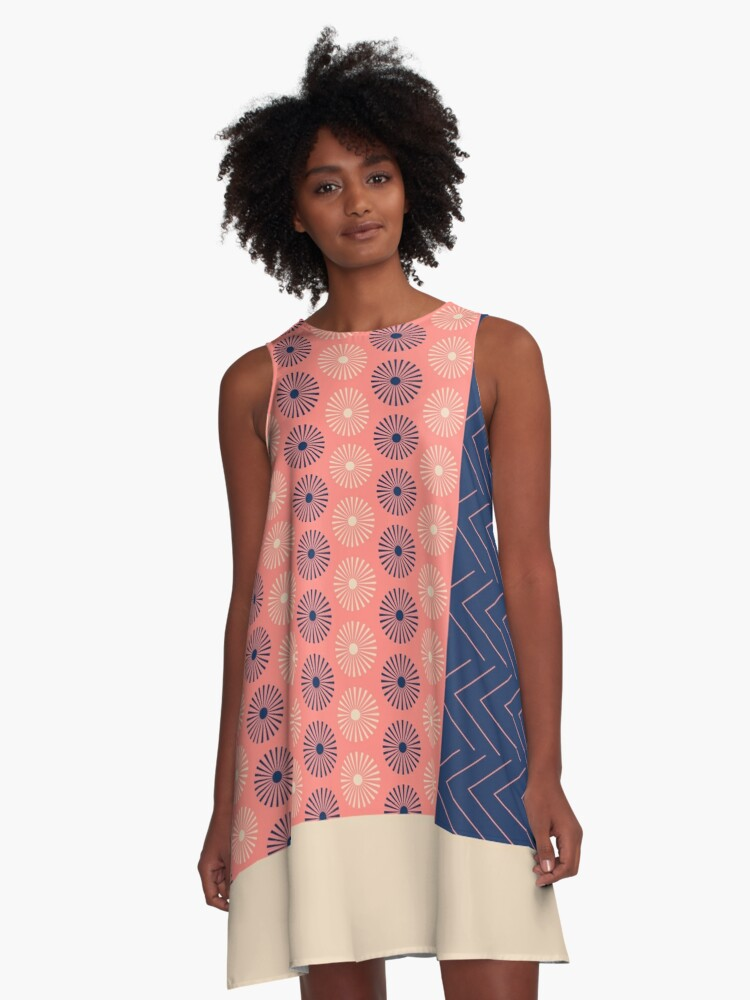 AFE Geometric Abstract A-Line Dress Front