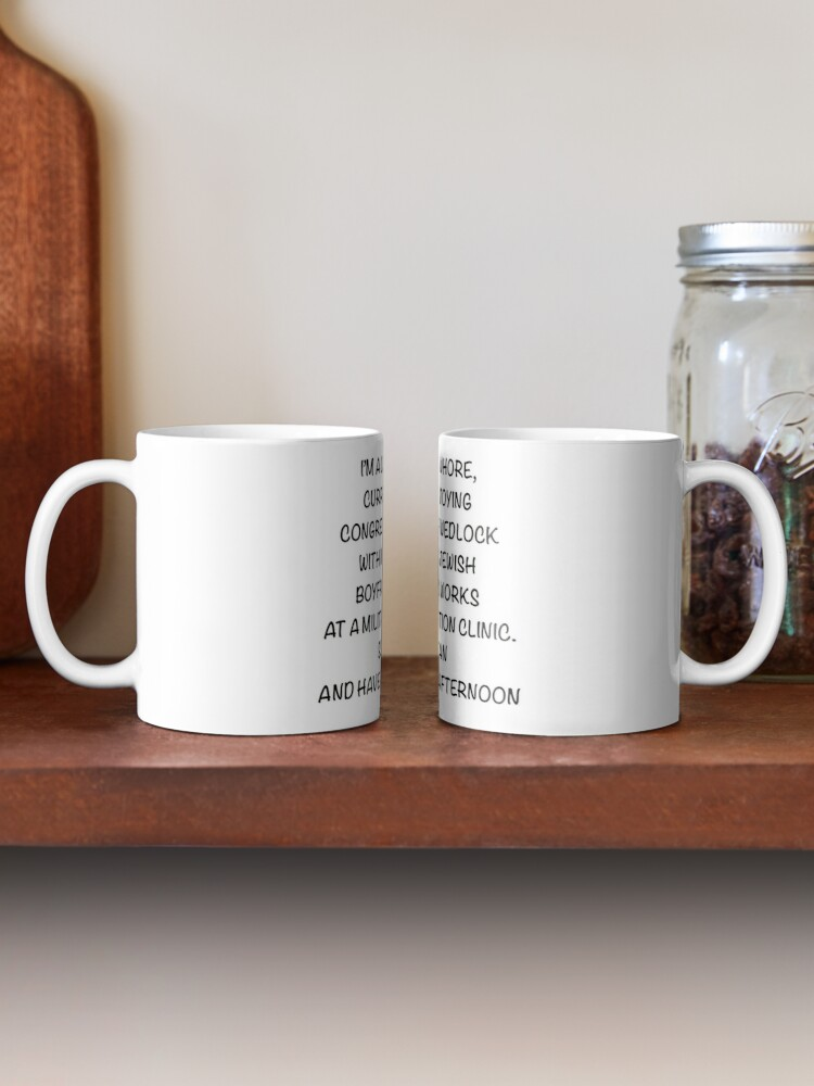 Alternate view of Improved Catholic Whore design with less white space  Mug