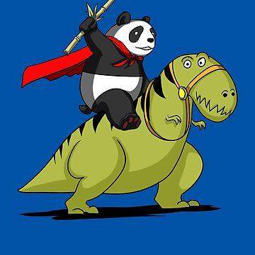 Panda Bear Superhero Riding A T-Rex Dinosaur Cartoon by underheaven