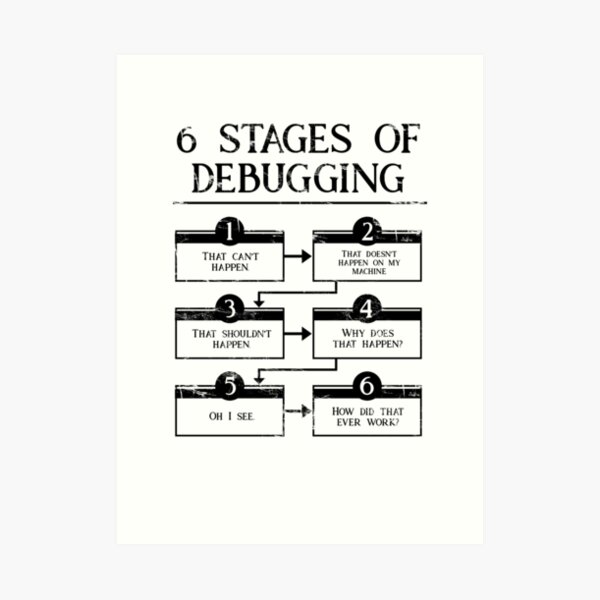 6 Stages Of Debugging  Art Print