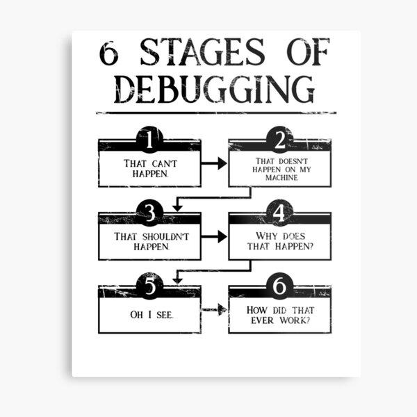 6 Stages Of Debugging  Metal Print