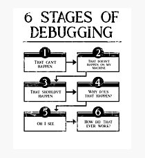 6 Stages Of Debugging Computer Programming Photographic Print