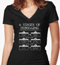 6 Stages Of Debugging Computer Programming Women's Fitted V-Neck T-Shirt