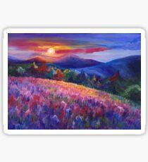 Cozy landscape acrylic painting Sticker