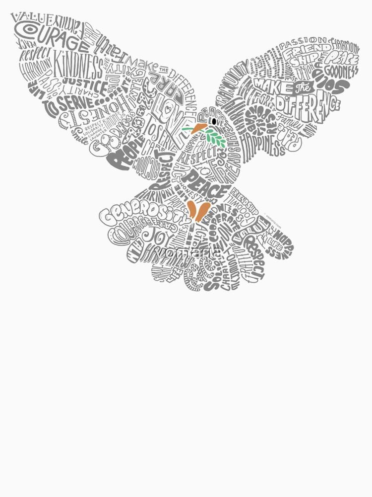 Typographic Peace Dove (black) by vomaria
