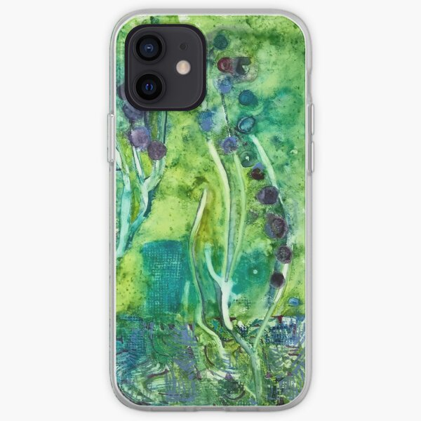 Green & Purple Hyacinth Watercolor iPhone Soft Case