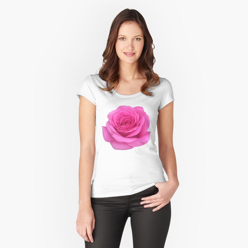 Pink Rose  Fitted Scoop T-Shirt