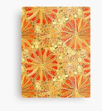 Tribal Mandala Print, Mustard Gold and Orange  Metal Print