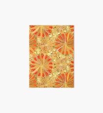 Tribal Mandala Print, Mustard Gold and Orange  Art Board