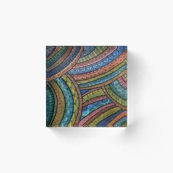 Rainbow Mandala Acrylic Block