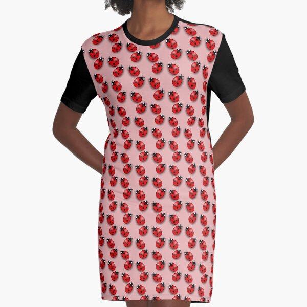 Ladybird Pattern - Ladybug Dress Graphic T-Shirt Dress