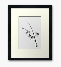 Bamboo stalk with young leaves minimalistic Sumi-e Japanese Zen painting artwork art print Framed Print