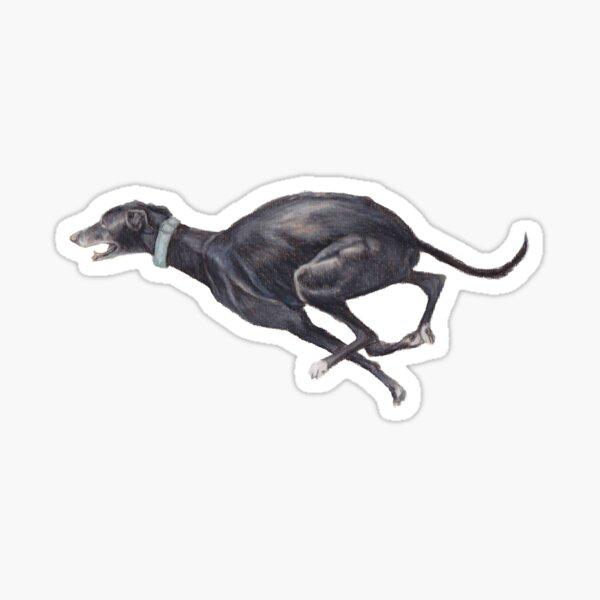 Black Running Greyhound Sticker