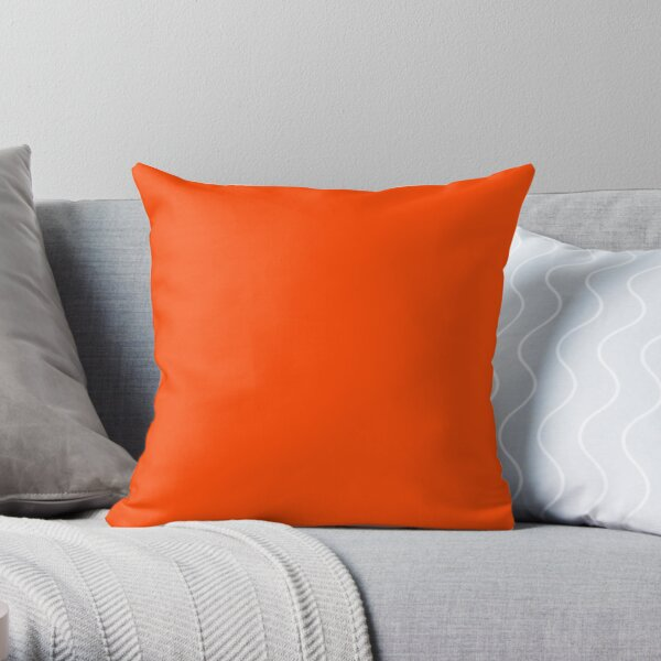 PLAIN ORANGE RED | SOLID COLOR ORANGE RED -OVER 100 SHADES OF ORANGE ON OZCUSHIONS Throw Pillow