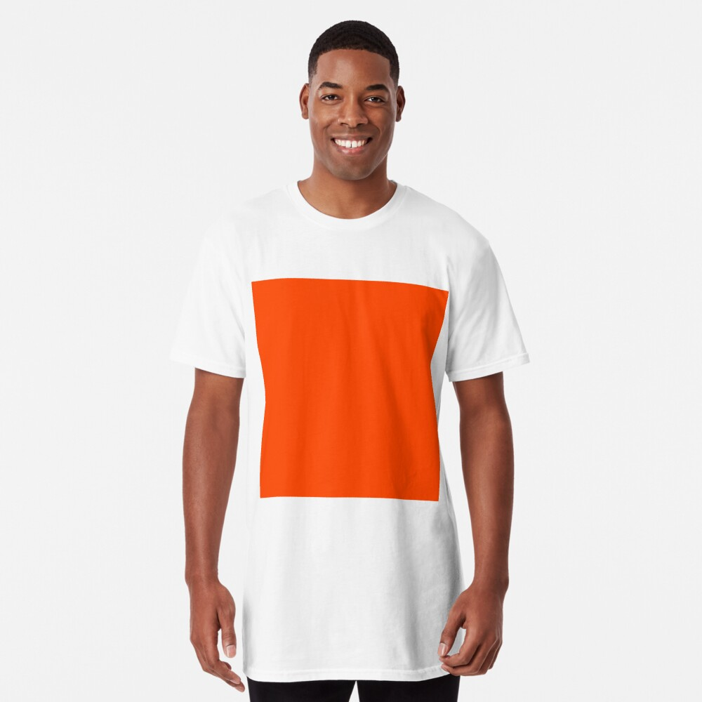 PLAIN ORANGE RED | SOLID COLOR ORANGE RED Long T-Shirt