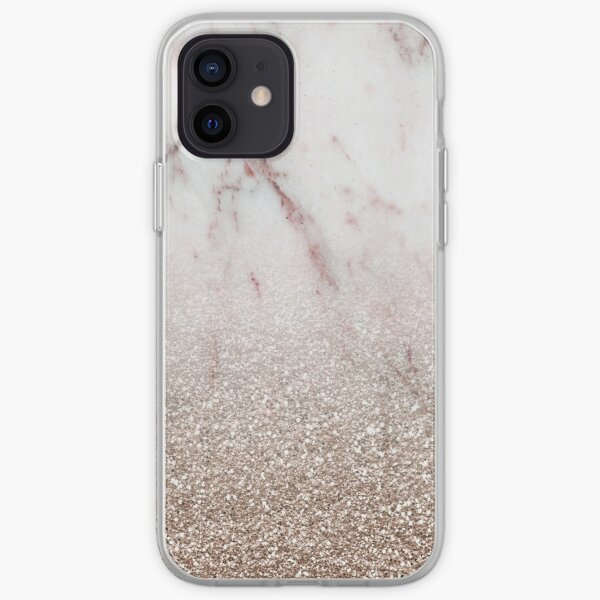 Glitter ombre - pink marble & rose gold glitter iPhone Soft Case