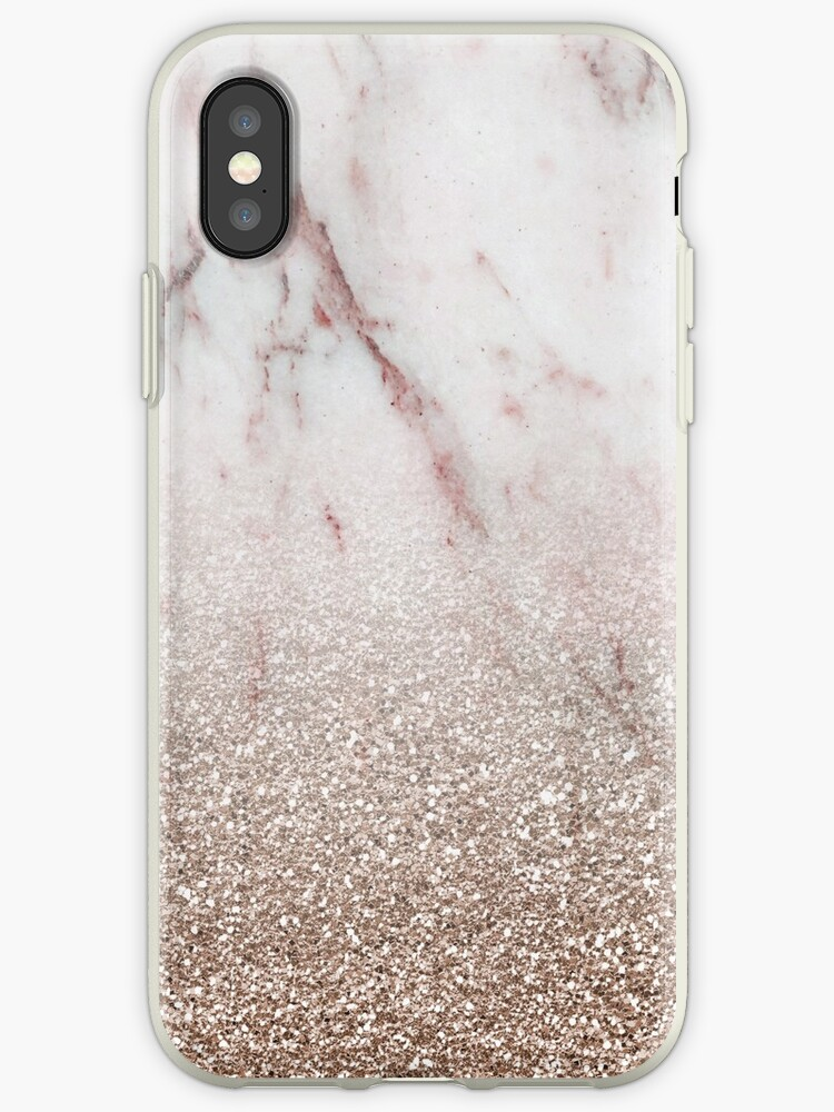 the latest d7a44 acd1c 'Glitter ombre - pink marble & rose gold glitter' iPhone Case by marbleco