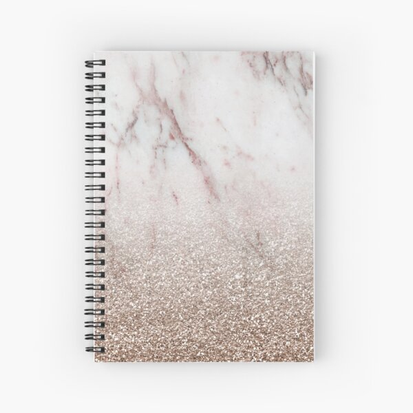 Glitter ombre - pink marble & rose gold glitter Spiral Notebook