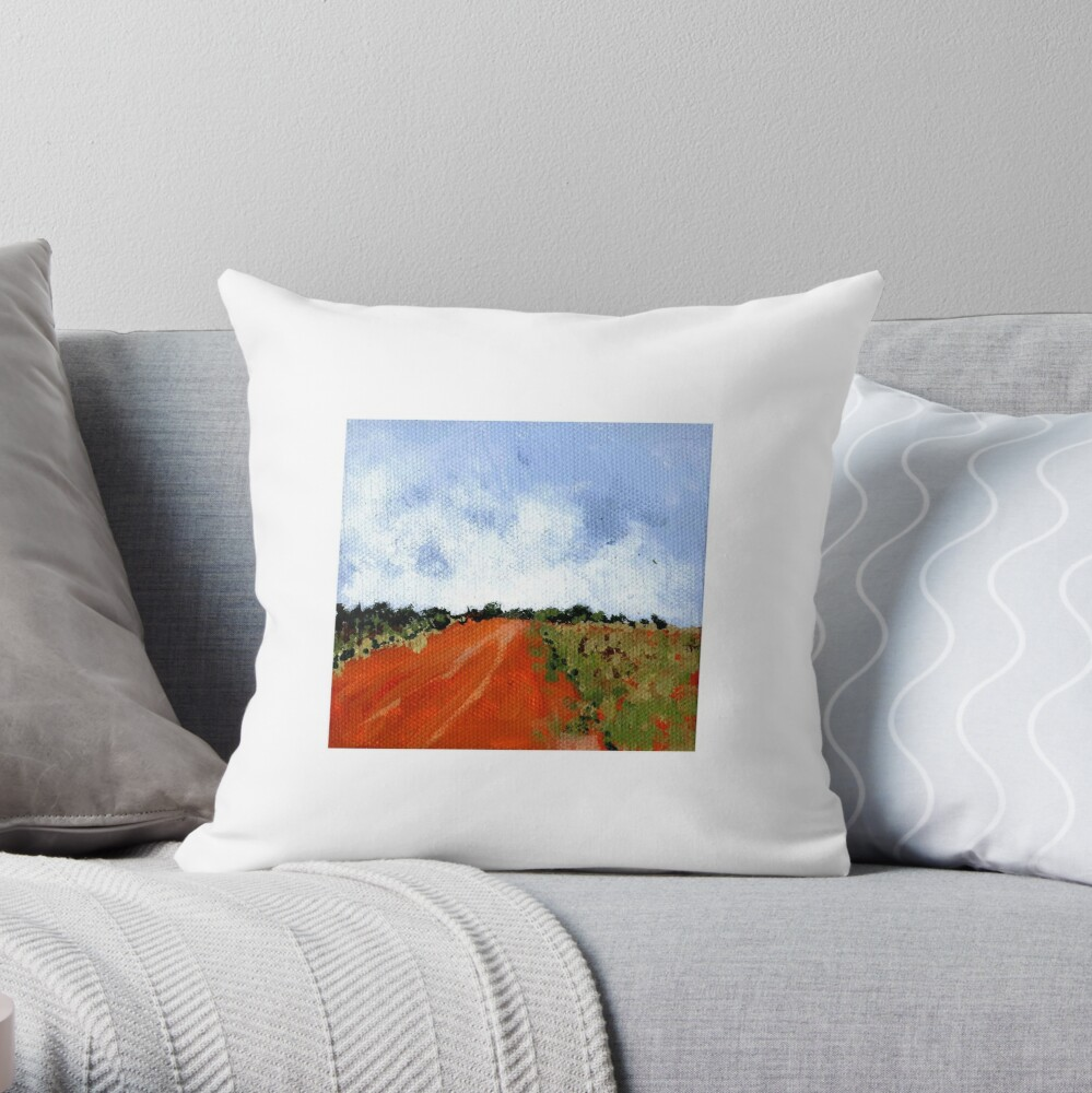 Down the Red Road Throw Pillow