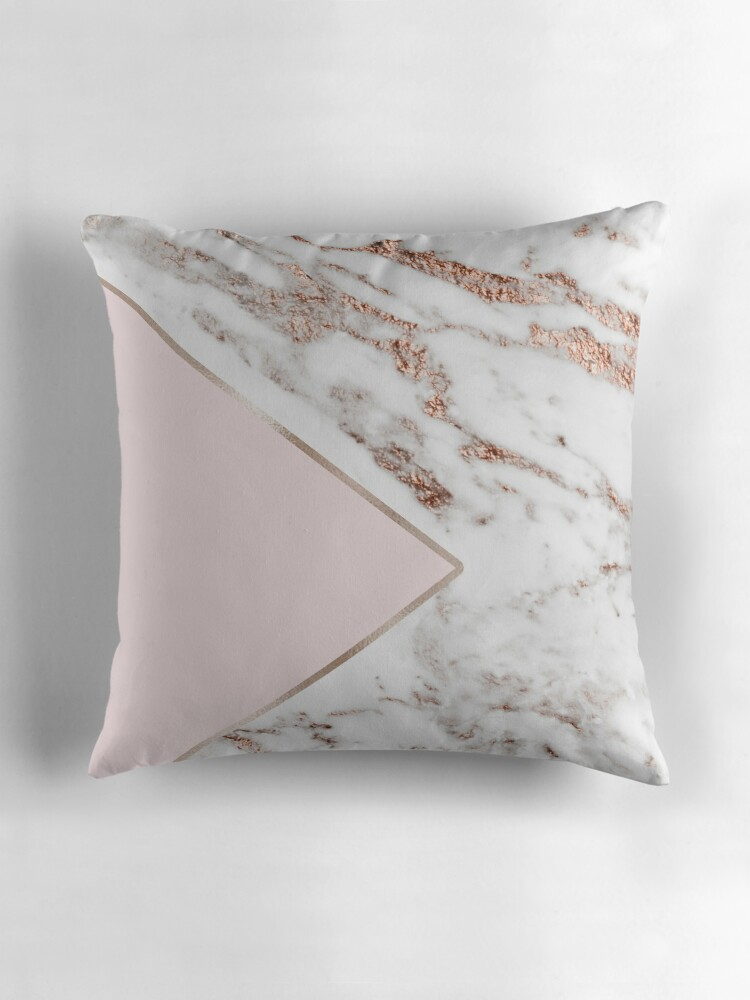 Quot Blush Pink Geo Rose Gold Marble Quot Throw Pillows By
