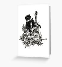 Guns N' Roses Slash Fanart Guitar Skeleton Skull Design Greeting Card