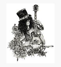 Guns N' Roses Slash Fanart Guitar Skeleton Skull Design Photographic Print