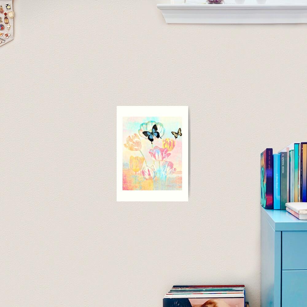 Botanical Prints-Tulips and Butterflies Art Print
