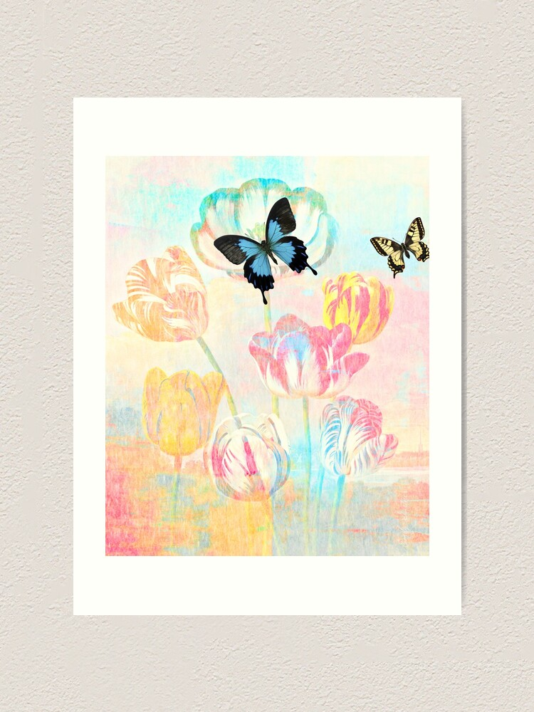 Alternate view of Botanical Prints-Tulips and Butterflies Art Print