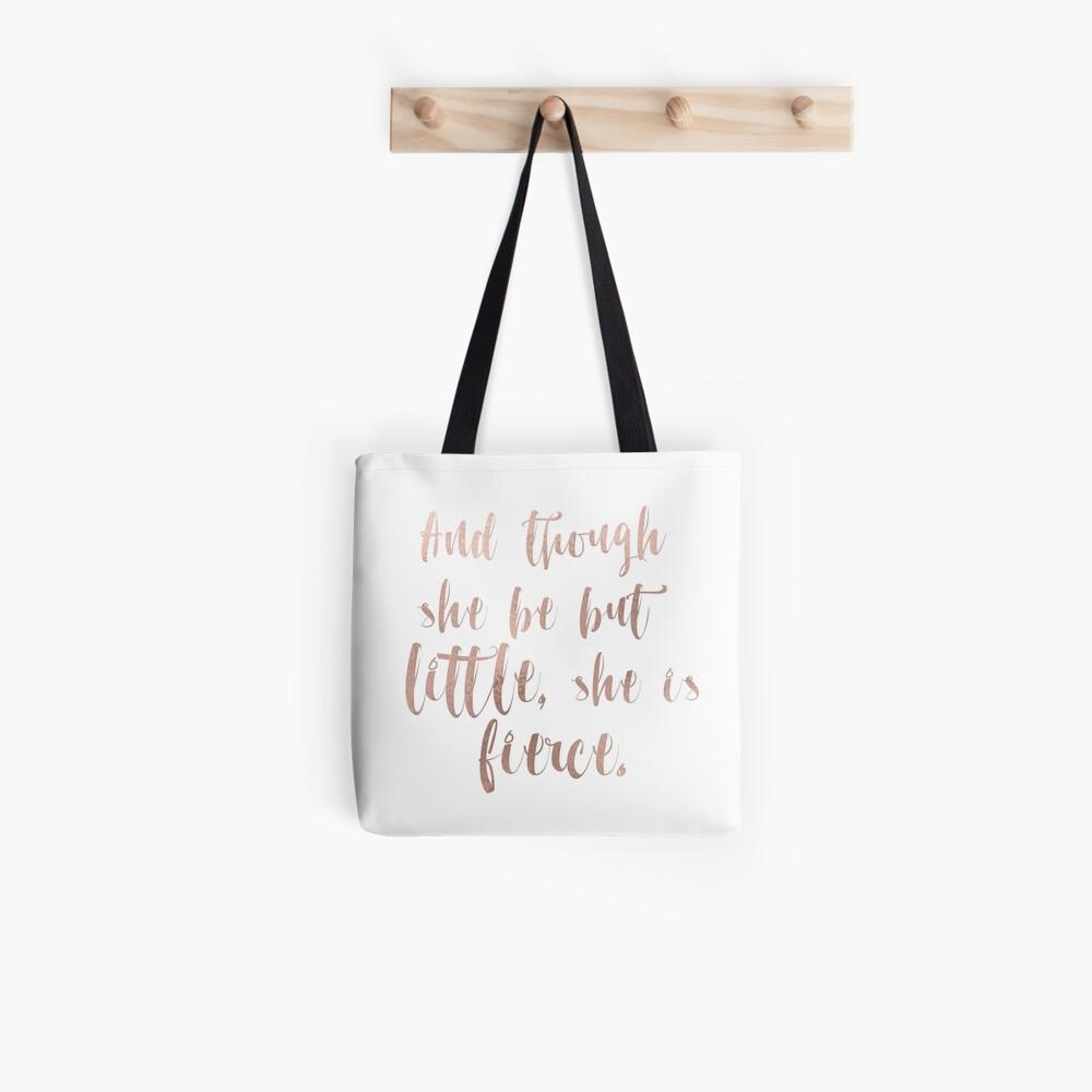Obwohl sie nur wenig ist, ist sie wild - Roségold Stofftasche