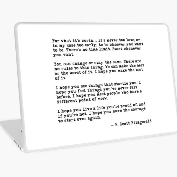 Por lo que vale - cita de F Scott Fitzgerald Vinilo para portátil