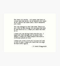 Für was es wert ist - F Scott Fitzgerald-Zitat Kunstdruck