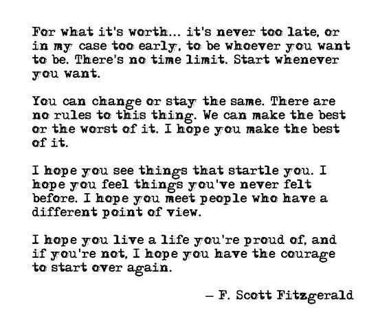 Für was es wert ist - F Scott Fitzgerald-Zitat von peggieprints