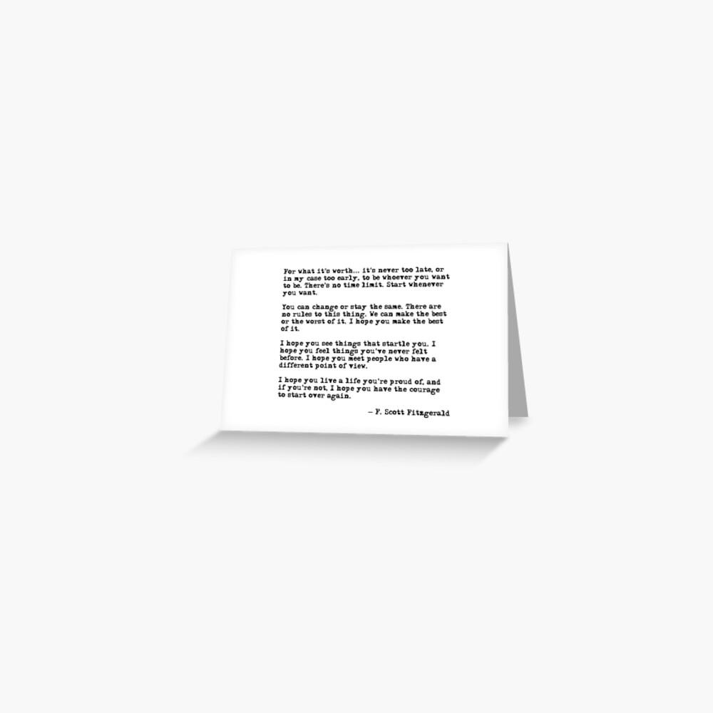 Für was es wert ist - F Scott Fitzgerald-Zitat Grußkarte
