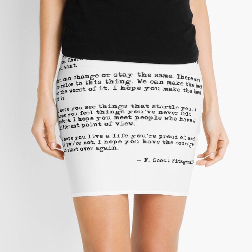 For what it's worth - F Scott Fitzgerald quote Mini Skirt