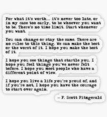 Pegatina transparente Por lo que vale la pena - F Scott Fitzgerald cita
