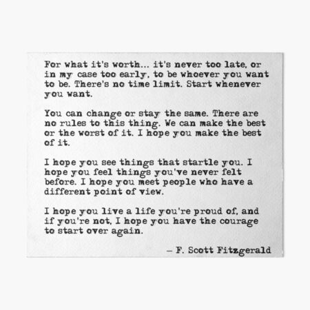 For what it's worth - F Scott Fitzgerald quote Art Board Print