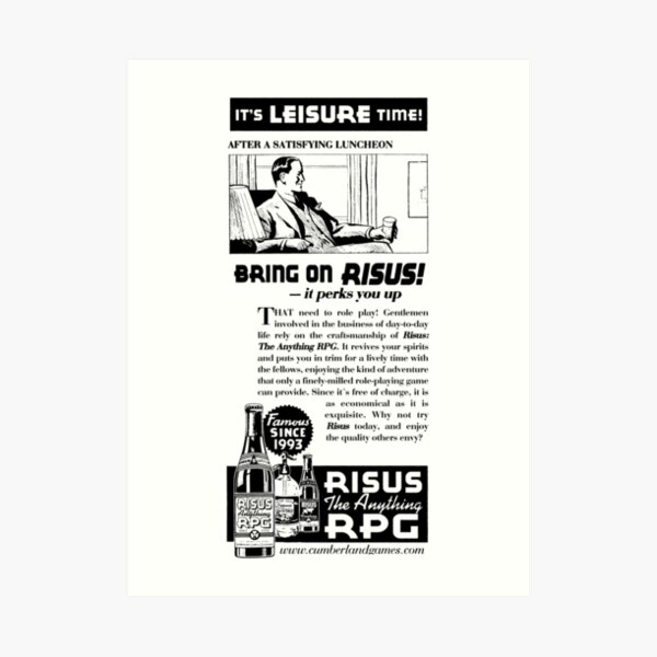Risus The Anything RPG - 1930s Advertisement Art Print