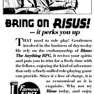 Risus The Anything RPG - 1930s Advertisement by S. Ross