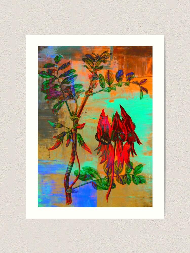 Alternate view of Botanical Print-Sturt Pea-Australia's Wildflower Art Print
